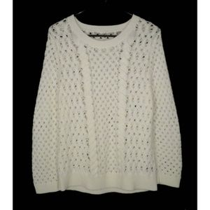 Knitted & Knotted Evening Chill Sweater L Eyelet